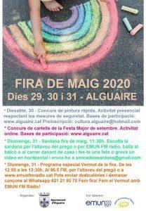 Fira de maig Alguaire 2020 cartell